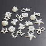50stk Flatback Hvid Bow Flower Hjerte Pearl DIY Craft Phone Dekoration Smykkefremstilling & Reparere