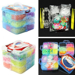5400stk Gummibänder DIY Armband, das Kit 3 Ebenen Storage Box Set