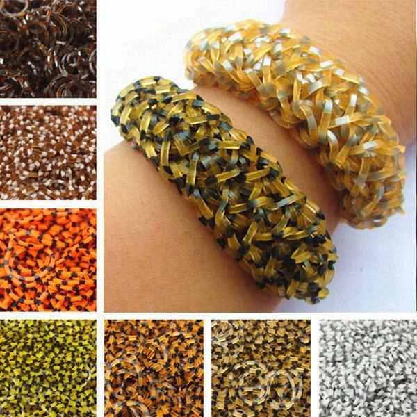 600stk Leopard Gummibänder DIY Armband Fertigkeit mit Karabinerhaken Schmuckherstellung & Reperatur