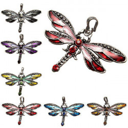 6Pcs Dragonfly Charm Rhinestone Necklace Pendant DIY Jewelry