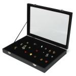 80 Slots Glas Låg Øreringe Holder Box Bakke Show Case Jewelry Display Smykker Tilbehør