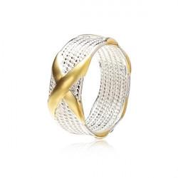 925 Silverpläterad Unisex Charm Guld X Ring Gåva Smycken