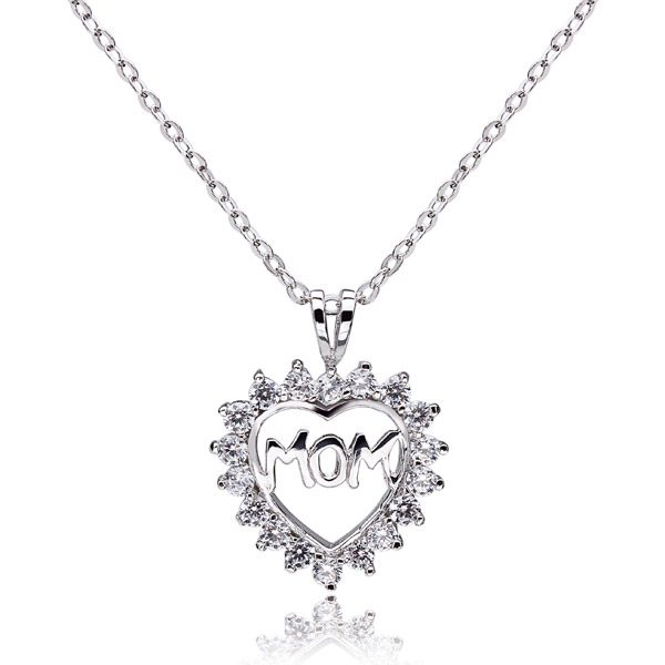 925 Sterling Silver Mom Rhinestone Hollow Heart Necklace Pendant Jewelry Design & Repair