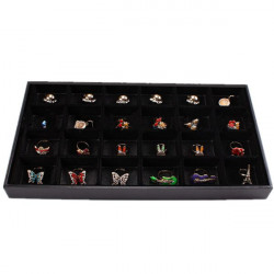 Black 24 Slots Rings Organizer Show Case Holder Box Jewelry Display