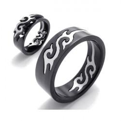 Svart Titanium Stål Silver Fire Flame Herr Ring Bandet Ring