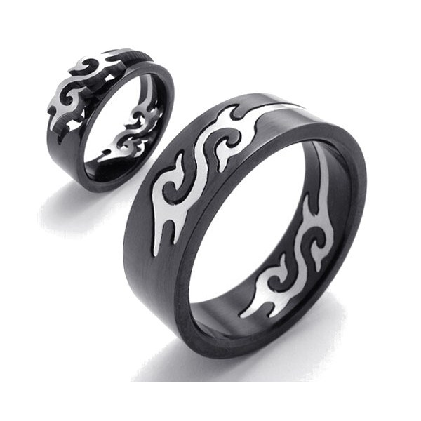 Black Titanium Steel Silver Fire Flame Men Finger Ring Band Ring Men Jewelry