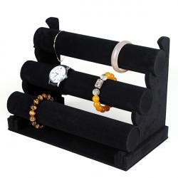 Schwarz Velvet 3 Tier Armband Uhr Armband Schmuck Anzeigen Regal Halter