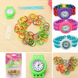 DIY Runde Farverige Loom Gummi Bands Armbåndsur Set Kit Kid Gift