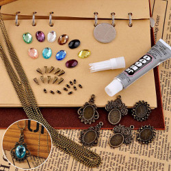 DIY Vintage Bronze Crystal Pendant Necklace Long Chain Handmade