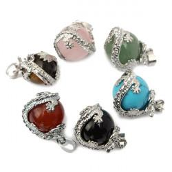 Drage Wrap Natural Stone Quartz Bead Halskæde Vedhæng DIY Smykker