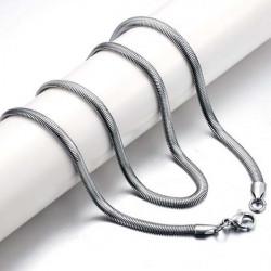 Utsökt Herr Titan Stål Oblate Flat Snake Chain Necklace