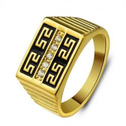 Gold überzogen Great Wall Strass gravierten Männer Ring