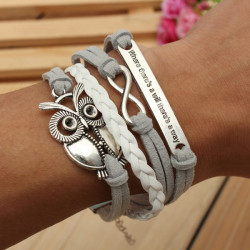 Grey Owl Multilayer Bracelet Infinite Symbol Leather Alloy Bracelet