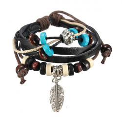 Handmade Leaf Feather Wooden Bead Pendant Cord Leather Surfer Bracelet
