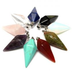 Hexagonal Pyramid Natursten Kristall Halsband Hänge