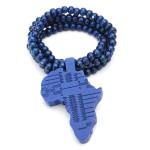 Hip Hop Afrika Kartlägger Trä Pärlor Hängsmycke Lång Kedja Halsband Unisex Herrsmycken