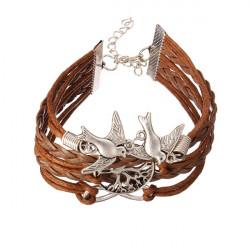 Oändlig Fågel Tree Multi Armband Flätat Läder Herr Armband
