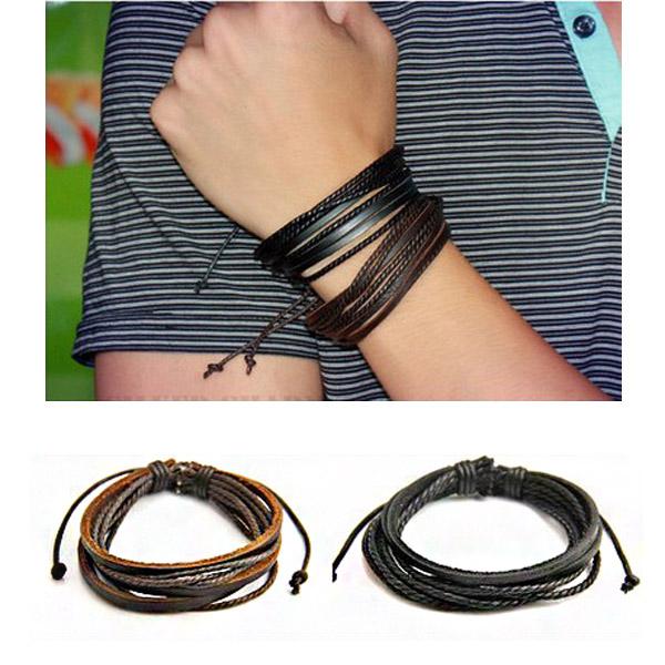 Läder Vävda Rep Armband Herrsmycken
