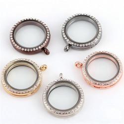 Wohn Fotolocket Rhinestone Kristall Magnet Schwebe Charm Medaillon