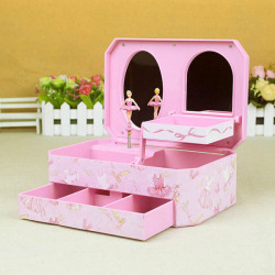 Lovely Mirror Ballet Girl Rotating Musical Box Jewelry Storage Case