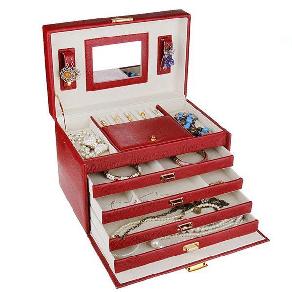 Luxury Lizard Leather Fold Jewelry Organizer Storage Display Box Case Jewelry Supplies