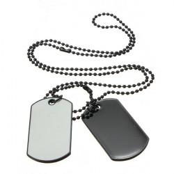 Männer Armee Art weiße und schwarze 2 Dog Tag Anhänger Halskette