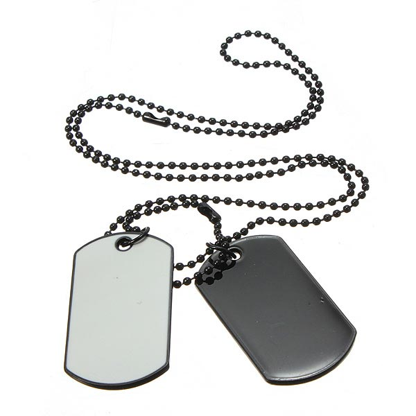 Herr Army Style Vit och Svart 2 Dog Tag Hänge Halsband Herrsmycken
