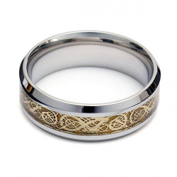 Mænd Guld Wolfram Drage Scroll Inlay Band Fingerringe