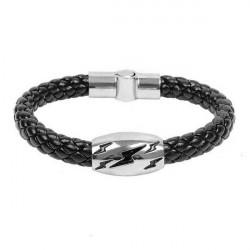 Men Lightning Snake Skin Leather Weave Bracelet Titanium Steel