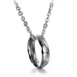 Men Lord Of The Ring Pendant Chain Necklace Titanium Steel