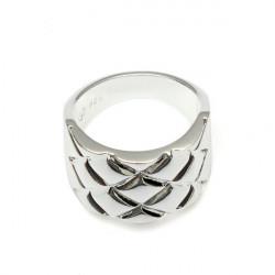 Herr Silverpläterad Ruta Textur Ring Smycken