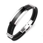 Men Silver Stainless Steel Bangle Bracelet Black Rubber Men Jewelry