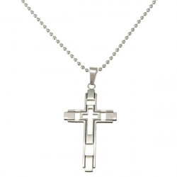 Men Silver Stainless Steel Hollow Double Cross Bible Pendant Necklace