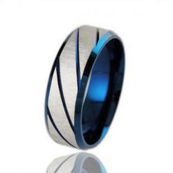 Men Titanium Steel Section Pattern Finger Ring Blue Yellow