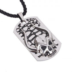 Mens Titanium Steel Skull Ox Horn Pendant Necklace Hemp Rope Chain