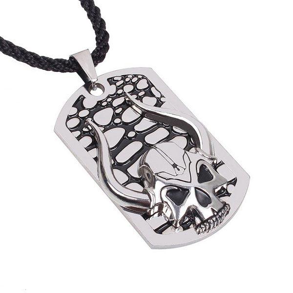 Mens Titanium Steel Skull Ox Horn Hängande Halsband Hampa Rope Chain Herrsmycken