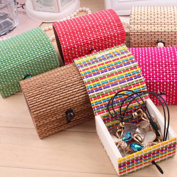 Mini Bamboo Wooden Square Handmade Storage Box Case Jewelry Box Jewelry Supplies