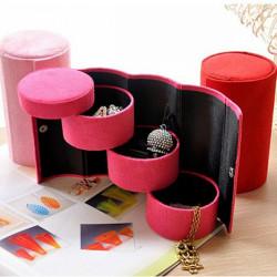 Multicolor 3 Lager Rund Ring Örhängen Smycken Förvarings Gift Box