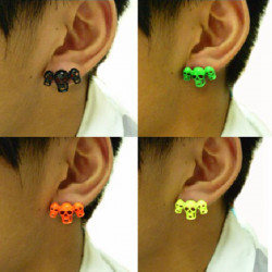 Original Fluorescens Color Tre Ghost Skull Hoved Ear Stud Øreringe