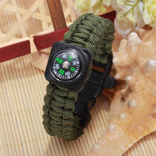 Udendørs Emergency Survival Paracord Armbånd Compass Whistle Armbånd Herresmykker