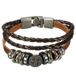 Punk Multilayer Cross Braided Charm Leather Wrap Bracelet Unisex