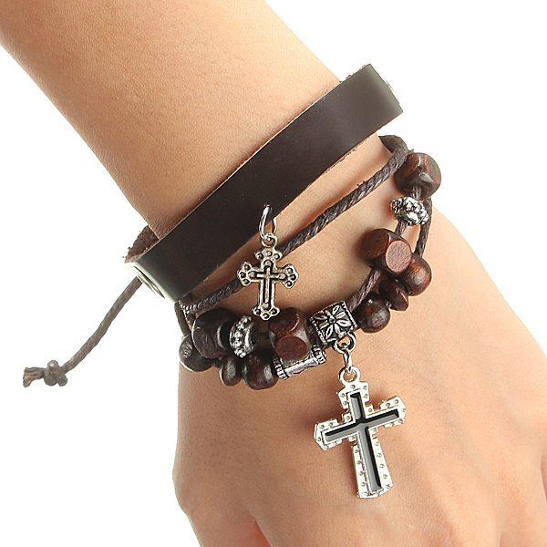 Punk Multi Kors Wrist Läderrem Cuff Charm Armband Unisex Herrsmycken