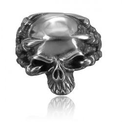 Punk Vintage 316L Stainless Steel Silver Skull Men Finger Ring Jewelry