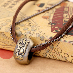 Punk Vintage Genuine Leather Ring Pendant Necklace For Men