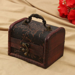 Retro Printed Wooden Jewelry Box Storage Holder Case With Handle