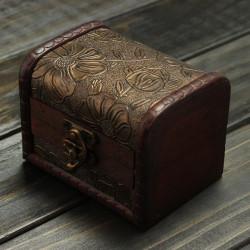 Retro Vintage Flower Printed Wooden Jewelry Storage Box Case
