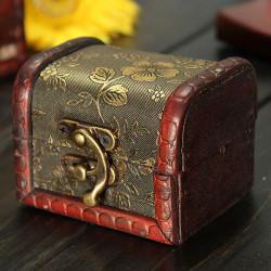 Retro Vintage Golden Flower Træ Smykker Opbevaringskasse Case