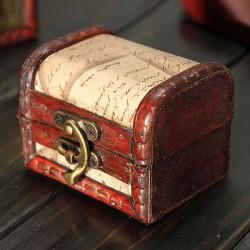Retro Vintage Stämpel Trä Smycken Förvaringslåda Case Metall Lock