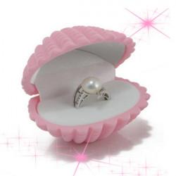 Ring Stud Earrings Velvet Gift Box Shell Jewelry Case Storage