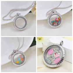 Round Stainless Steel Crystal Glass Magnet Floating Locket Pendant